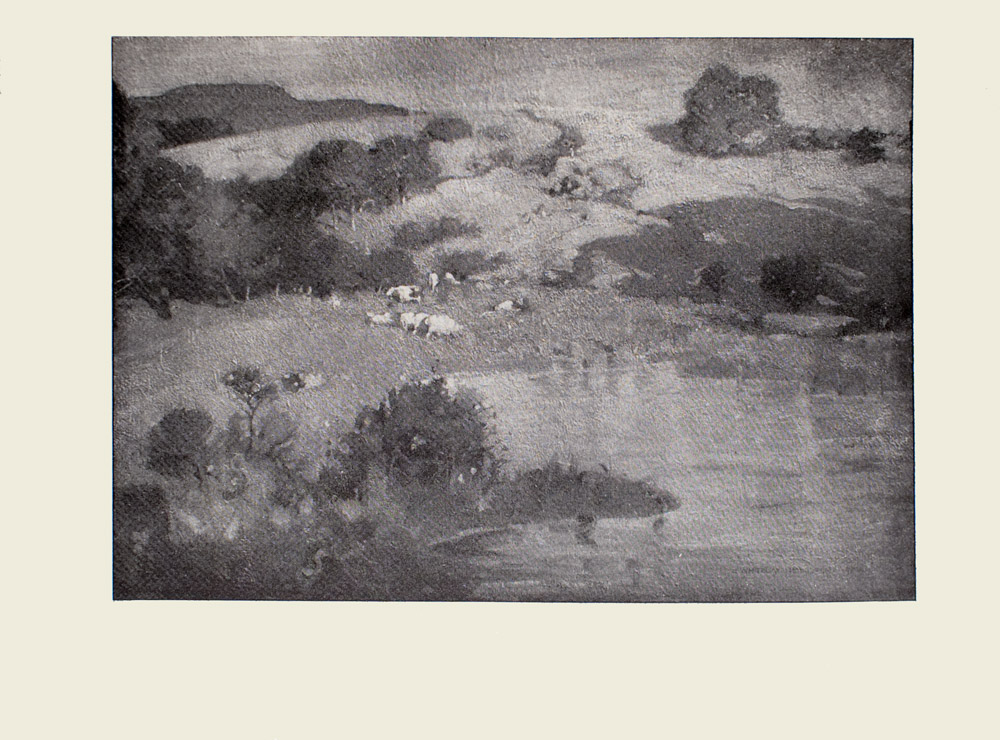 Image is of a country landscape In the foreground there is a body of water with a cluster of trees growing to the left of it In the middle ground there are several cows; some grazing In the background are trees and rolling hills The sky is clear and light coloured The image is horizontally displayed