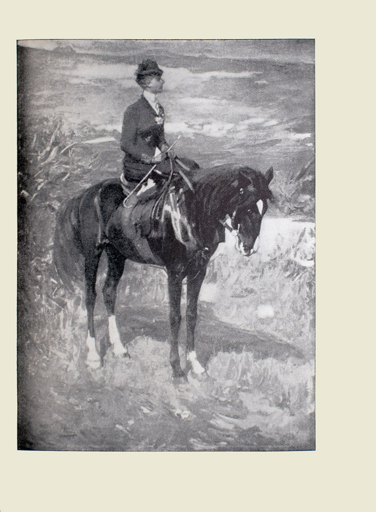 Image is of a woman horseback riding in a grassland The horse is still as the woman looks out into the distance The horse is completely black save for a white diamond on its nose and some white hair around the ankles Its head is bowed down with a bridle covering the horses snout Both the horse and the woman are shown in profile looking to the right of the image The woman is sitting side saddle Her body divides the image in half vertically She is wearing a hat gloves and dark coloured equestrian attire Her hair is tied back She wears a flower in her lapel In her right hand she holds a crop with a curved end The image is vertically displayed