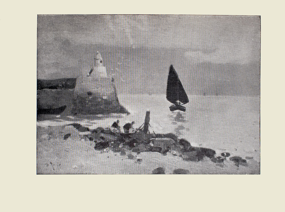 Image is of seascape In the middle of the image there is a sailboat with its bow pointed towards the shoreline Its shadow can be seen in the water To the left of the sailboat is a seawall with a white lighthouse Below and to the left of the lighthouse is a beached dark coloured boat From the left to the right of the foreground there is a beach with a myriad of boulders and driftwood Two figures are gathering materials from the shoreline The image is horizontally displayed