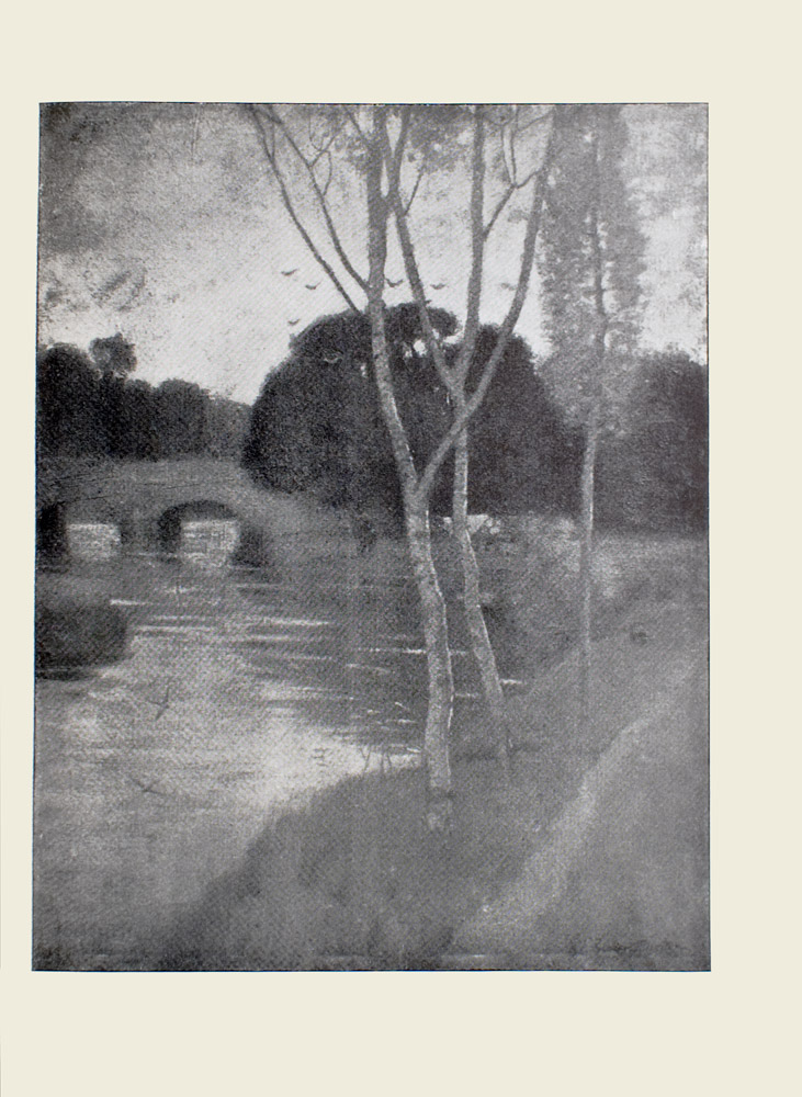 Image is of a river scene In the foreground there are three birch trees which divide the image in half vertically To the right of these trees is a small dirt pathway to the left are two swallows flying above the river In the left middle ground is a short arched bridge In the background there is a cluster of trees to the right of the bridge their reflection can be seen in the water Above these trees is a flock of birds The artists signature is in the bottom right hand corner The image is vertically displayed