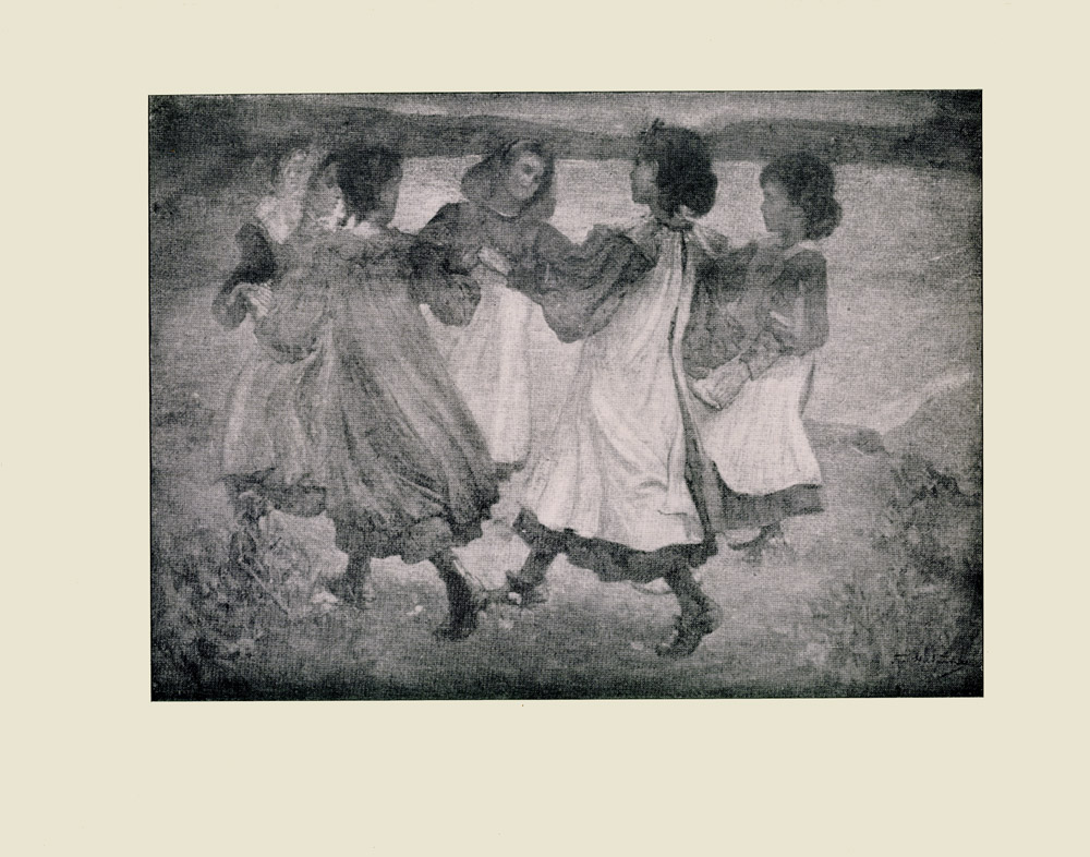 Image is of five young women holding hands and dancing around in a circle on the grass They are all facing each other looking toward the inside of the circle Four of the women are wearing long sleeved dresses with white pinafores All of them are wearing their hair back There is a body of water to the right of them Rolling hills can be seen in the background The sky is dark The artists signature F H Newbery is in the lower right hand corner The image is horizontally displayed