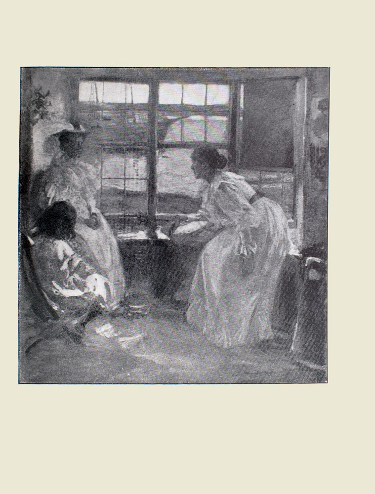 Image is of two women and a young girl sitting in a window seat On the right side of the image there is a woman leaning over the window seat She is wearing a long sleeved white dress with a ribbon around the waist the dress has a ruffled neckline and sleeves She is shown in profile looking towards the women on the left side of the image The taller woman is sitting with hands clasped looking towards the leaning woman She is wearing an ornate hat and a dress with a ruffled neckline Sitting on the ground to the right of this woman is a young girl The girl is shown from behind The seat divides the image in half horizontally There are three windows above the window seat a sash is pulled halfway down on the rightmost one Water and a two masted sailboat can be seen through the windows The sails are unfurled The image is vertically displayed