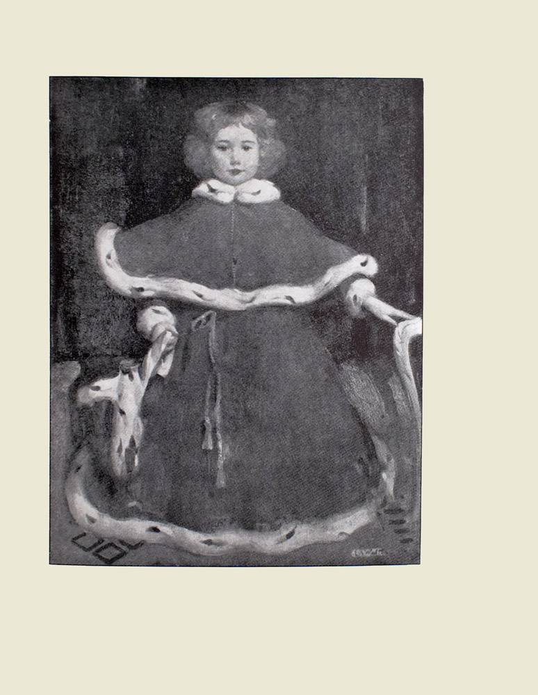 Image is of a child The girl is shown full frontally wearing a coat with a caplet that is trimmed with ermine The belt around the coat is a piece of rope tied in a bow The coat reaches the floor the childs body is completely hidden save for their head and hands The childs hands barely poke out from under their coat The right hand is holding on to an object the left is resting on the arm of a chair The child has light coloured curly hair that barely reaches their chin The floor has a diamond pattern the background is dark and undefined The artists signature E A Walton is in the bottom right corner The image is vertically displayed