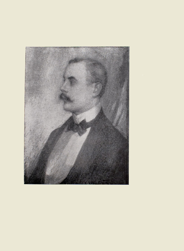Image is a portrait of a moustached Kenneth Grahame shown from the chest up He is shown in profile looking to the left He is wearing a formal suit with stiff collar a bowtie The background is open and light coloured The artists signature E A Walton can be seen in the lower right of the image The image is vertically displayed