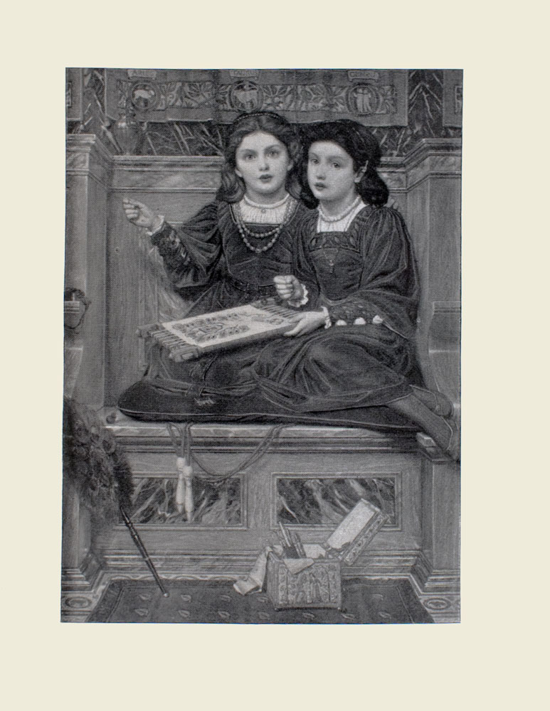 Image is of two girls Hermia and Helena from William Shakespeares A Midsummer Nights Dream sitting on a bench indoors Both girls are wearing identical expressions and looking straight ahead They each have dark hair secured by a hair band Both girls are wearing dark dresses with detailing around the sleeves The girl on the right is wearing a necklace with a cross she has needlework in her left hand In her right hand is a needle Her knees are tucked up toward her poking out from the hemline of her dress The girl on the left is holding a needle in her right hand as well She is wearing a double string of beads around her neck Wood panelling takes up much of the background Just above the wood panelling immediately behind the girls is a tapestry with the name and picture of three star signs Aries Taurus and Gemini The girls are sitting on a cushioned bench Underneath this cushion is a skipping rope with wooden handles A small box is ajar on the patterned carpet in front of the bench a pair of scissors and some fabric poke out Propped up against the wall is a dark feather duster The image is vertically displayed