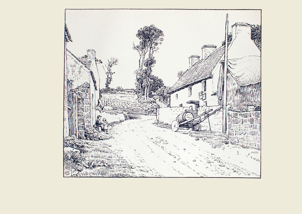 Image is of a dirt road On the right side of the image is a building with three chimneys A smaller darker building is beside the building in the middle ground A stone wall winds around the house A wood cart with wheels sits beside the wall on the road There is a single barrel on top of it A string dangles from its handles Immediately in front of the cart is a pole Across the street are two other buildings There is one woman and one girl figure outside the building The woman is wearing a dark dress and a hat She is sitting down The girl is wearing a light coloured dress with short sleeves She is standing in front of the woman Both are shown in profile One building has a stone wall beside it there is a tall wooden gate with a curved top that is part of the wall In the background there are several trees to the left of the road To the right of the trees is a field The sky is open and cloudless The artists signature is in the bottom left corner The image is horizontally displayed