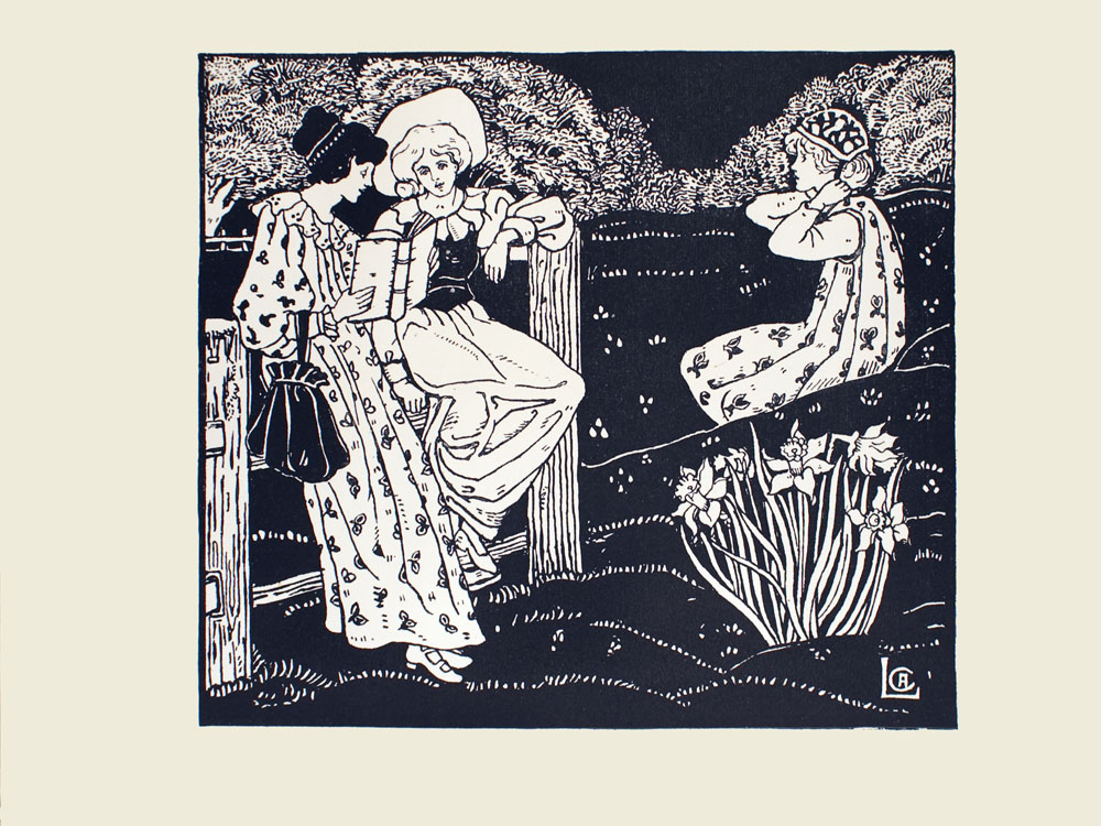 Image is of three women on hilly terrain reading Herricks poetry together The woman reading the book is the leftmost figure Both of her hands hold the book She has dark hair in an updo she is wearing a patterned dress with a ruffled neckline and long puffed sleeves On her right arm is a dark bag that cinches closed The woman is leaning on a wooden fence She is shown in profile looking right at a woman standing beside her The woman to her right has light coloured hair contained by a hat She is also wearing a light coloured dress with puffed sleeves and a ruffled collar with a dark vest She is sitting on the same wooden fence This womans right arm is supporting her on the fence and her left hand She is looking toward the book with a slightly tilted face To their right in the middle ground is a young woman She is shown in profile looking left in the direction of the women She has light coloured hair and is wearing a patterned dress with long sleeves She is fastening the neck strap of a hat In the right immediate foreground there is a cluster of daffodils There are trees in the background Small flowers are dispersed throughout the grass. The artists initials CAL are in the bottom right corner The image is horizontally displayed The image is single ruled with a thick black line