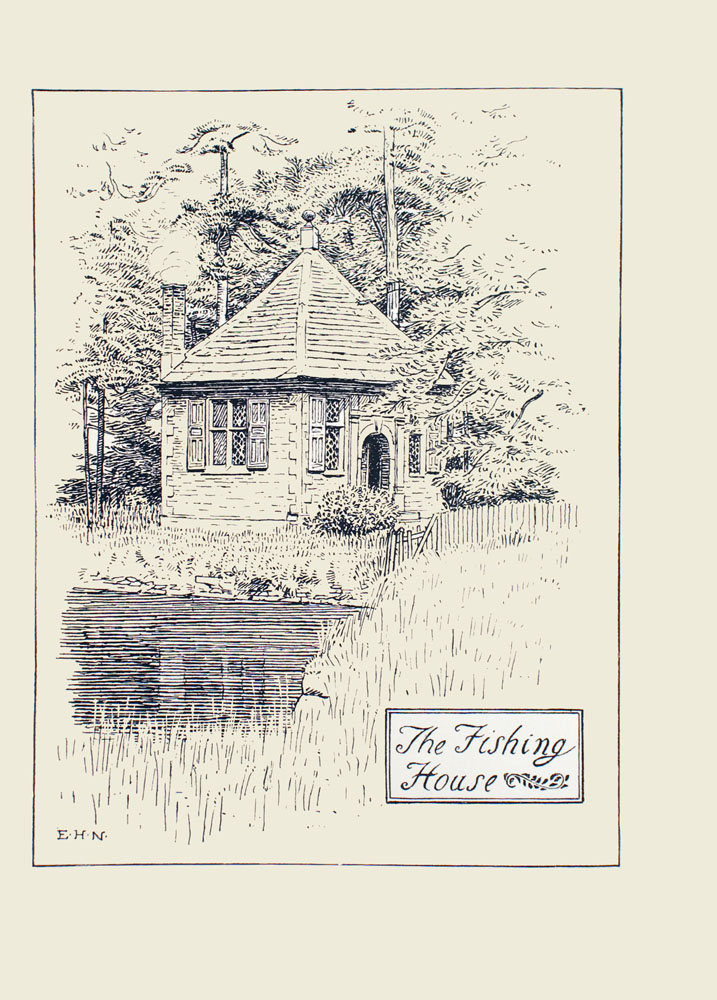 Image is of a cottage with peaked roof in the woods Two of its sides are visible the joint where the walls meet divides the image in half vertically All of the windows have shutters and lattice windows The largest of these windows looks out onto a body of water On the adjoining wall is a wall with two windows a door with a rounded archway separates the two windows A bush is growing to the left of the door Tall trees dot the ground behind the building In the extreme foreground is a grassy shore that extends from the middle right portion to the lower left portion of the image In the bottom right hand corner is a black double ruled box that has the words The Fishing House in cursive The artists initials E H N are in the bottom left corner The image is vertically displayed