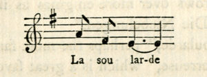 The image is of a bar of musical notation with accompanying lyrical text below There is a treble clef symbol followed by F sharp Key of G The melody shows two quarter notes on A and F followed by two tied half notes on E with the text La sou lar de below each note