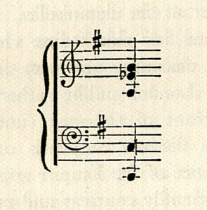 The image is of a bar of musical notation showing a treble cleff and a bass cleff with one sharp F The chord is a half note G E flat low A in the treble cleff and a low octave C in the bass