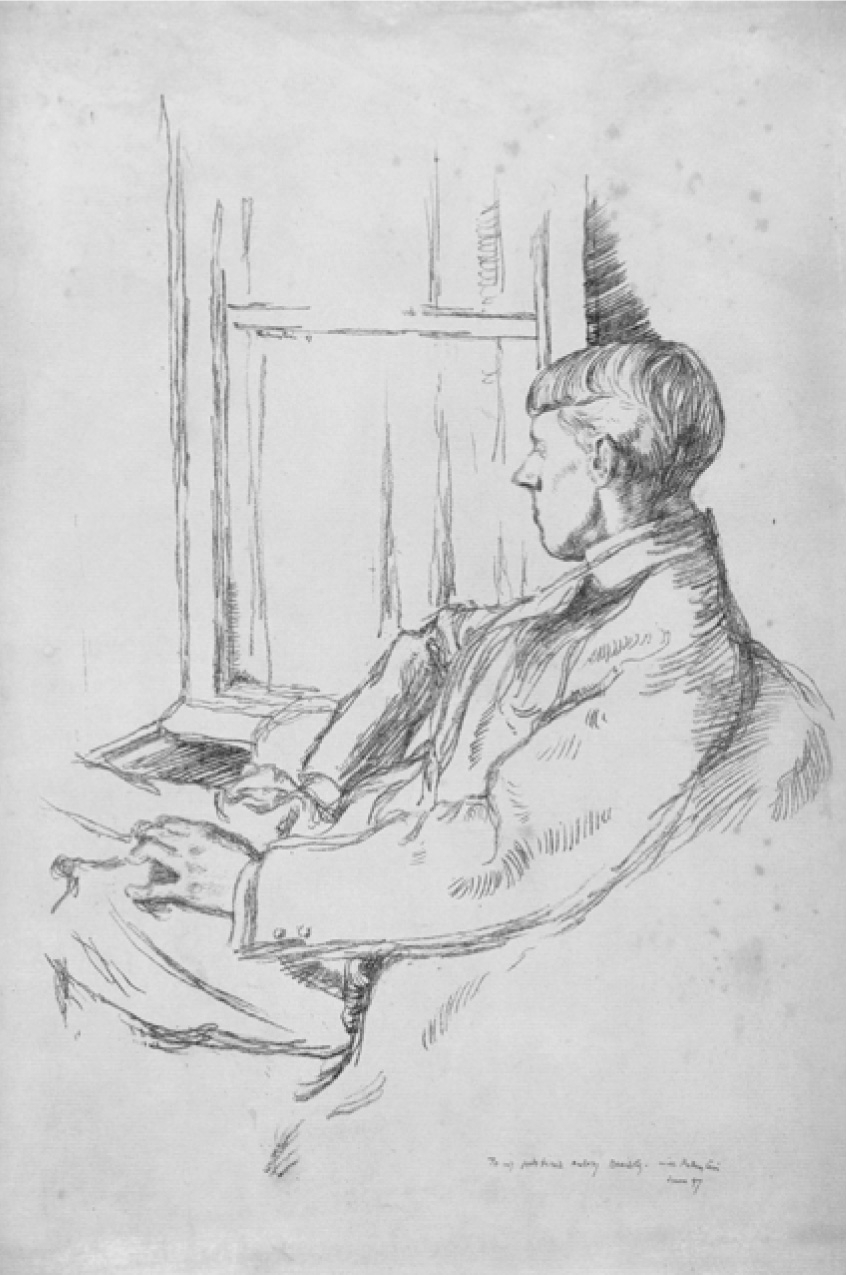 A young Aubrey Beardsley is seated with his left leg crossed gazing out a window. The left profile of his face is in view. He is dressed in a suit jacket and seated in an armchair with an open book faced down on the window sill.