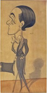 Image is of a young Max Beerbohm in formal dress with slicked back hair. He is shown in profile looking to the left. His left hand is holding a top hat and his right hand is holding a walking stick. He is casting a light shadow on the wall, which is beige in colour.