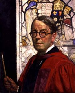 The painting shows a three quarter, torso view of Anning Bell facing left. He is dressed in red ceremonial robes with round glasses. In his hand he holds a paint brush. He is pictured in front of a stained glass window which contributes to the glowing quality of the oil painting.