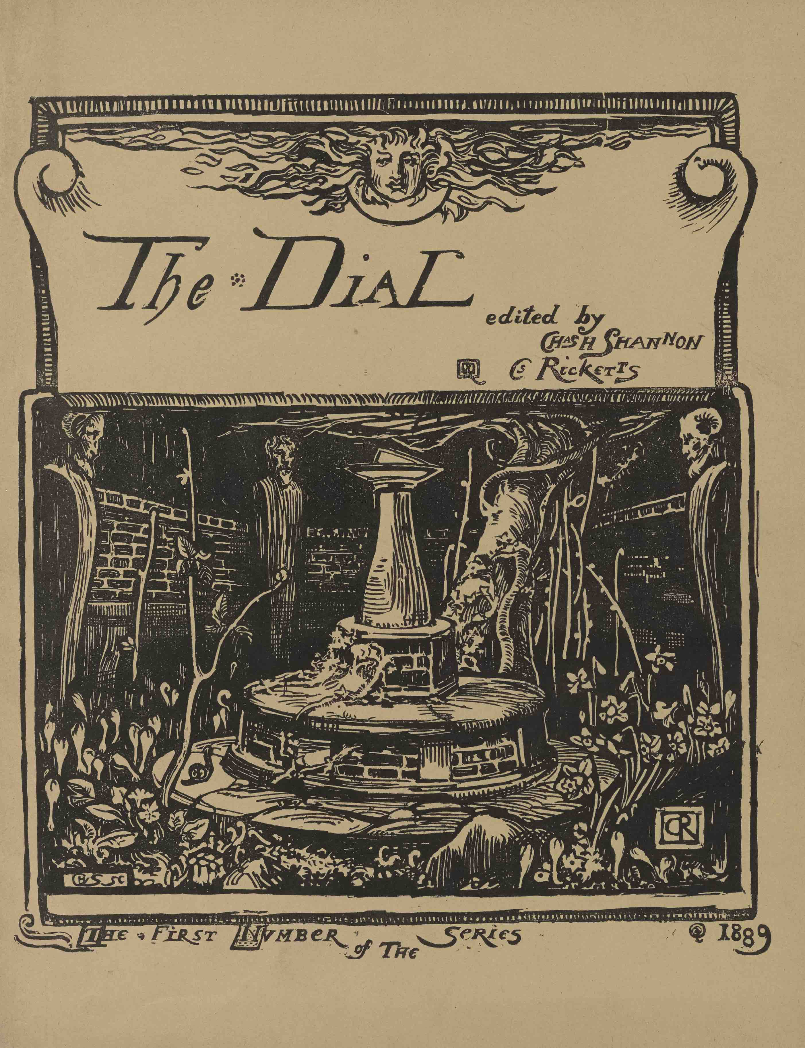 front cover of the Dial with a woodcut image of a fountain overgrown                        with plants