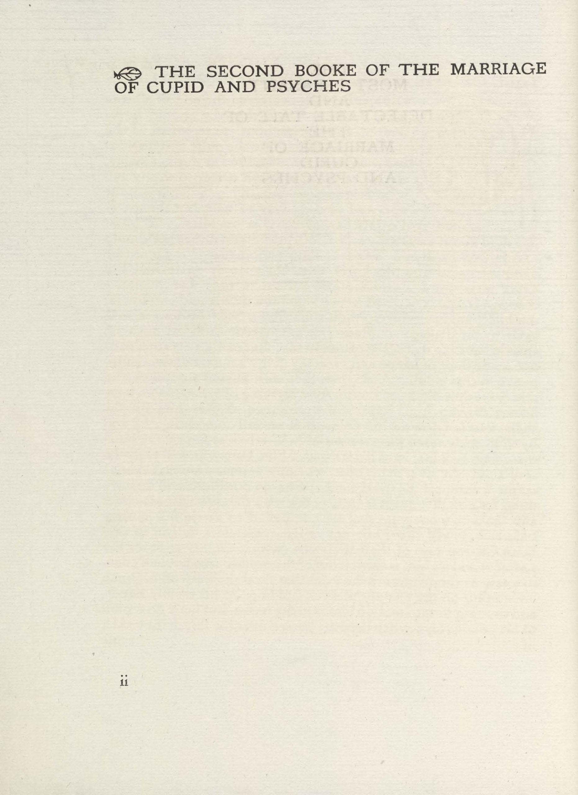 Page 2 of 4. The insert is printed on four pages, numbered i-iv, in black ink. On the first page, the title is printed in caps, centred, at the top of the page. The subheading is printed on the second page, aligned left, in caps, preceded by a fleuron. The third and fourth pages are full-page samples of the Vale type. The third page shows the title in caps, with fleurons, and an illuminated drop-cap P. Within the P is a small historiated image, or scene. In the left foreground, a nude woman bends in profile toward the centre of the image, descending steps, her body following the curve of the letter P. She carries a basket over her left arm and clutches her long hair in her right. On the right side of the image, three heads of a hydra emerge from an open doorway, facing the woman. They are set against a brick wall background. The rest of the text continues in upper and lower case. The page has a large right-hand margin, which is empty except for a fleuron and subtitle at the top of the page. The fourth page is the same as the third, except the text is in all caps with a much smaller right margin.