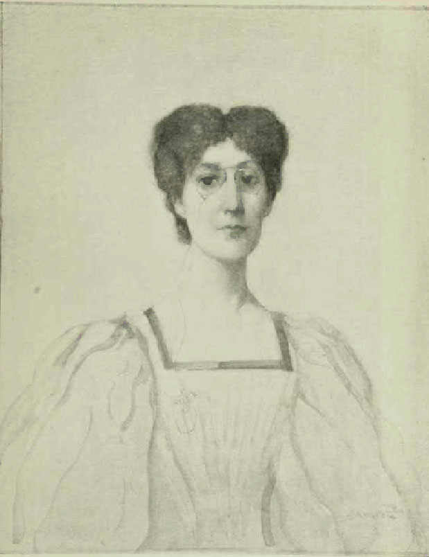 George Egerton is shown in a full-frontal position from the waist up. She is wearing a dress with puffed sleeves and a pair of glasses. The background is open and light-coloured.