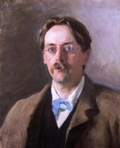 Colour image is of Edmund Gosse's upper torso and head and his gaze is directed at the viewer. He is wearing glasses and a dark brown overcoat on a black shirt on a white collared shirt. He has a light-blue necktie hanging to his right.