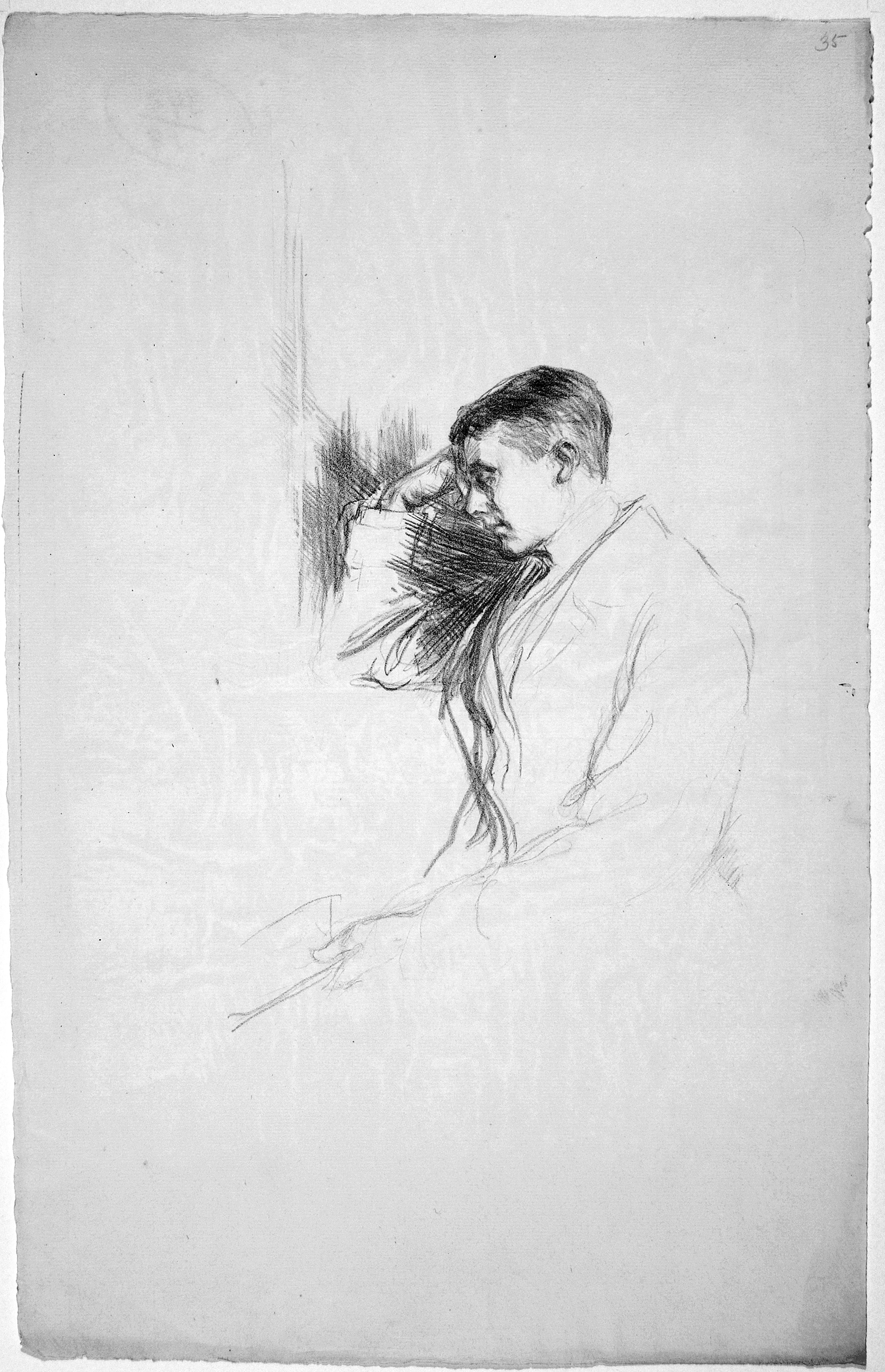 This image is a drawing of John Gray, his head and right arm are detailed, and the rest of the image is loosely sketched, fading away further down the page. He is leaning on his right elbow, perhaps by a window, his fist to his forehead and eyes shut. In his left hand is a book, loosely held. Straight dark lines fill the space between his head and arm, contrasting with the rest of the sketch. His hair is combed to the side, it is dark on top and grey on the bottom. He is wearing a heavy overcoat, white shirt sleeves are visible.