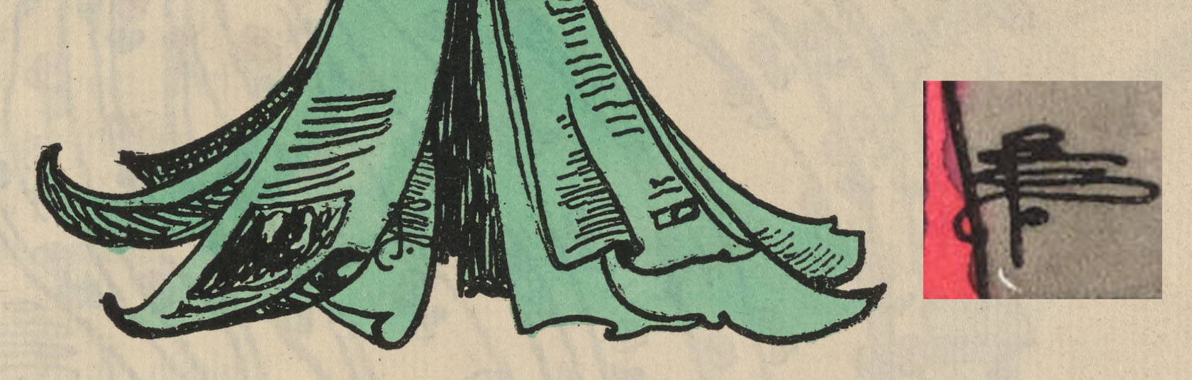 Enlarged detail of front cover design for The Green Sheaf, with sample monogram taken from fig. 2.