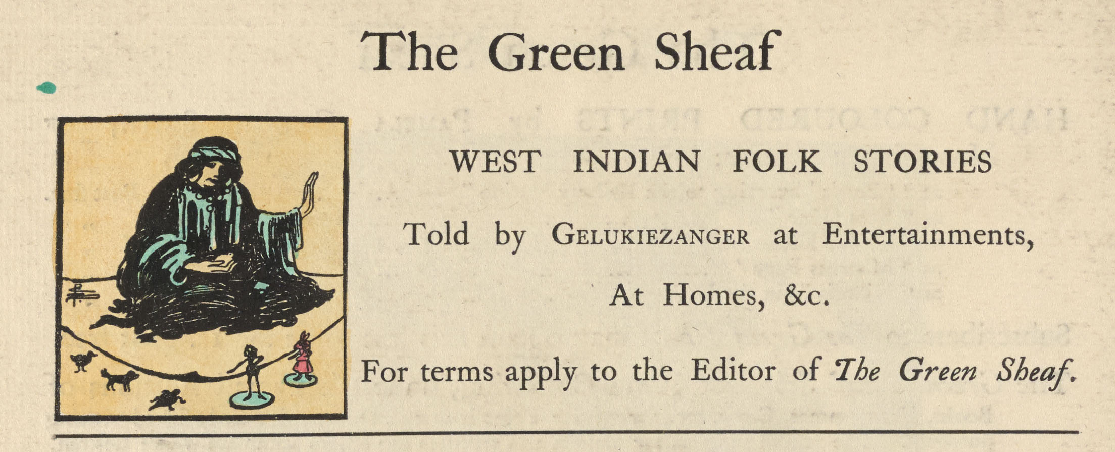 Advertisement for Gelukiezanger, The Green Sheaf, vol. 6