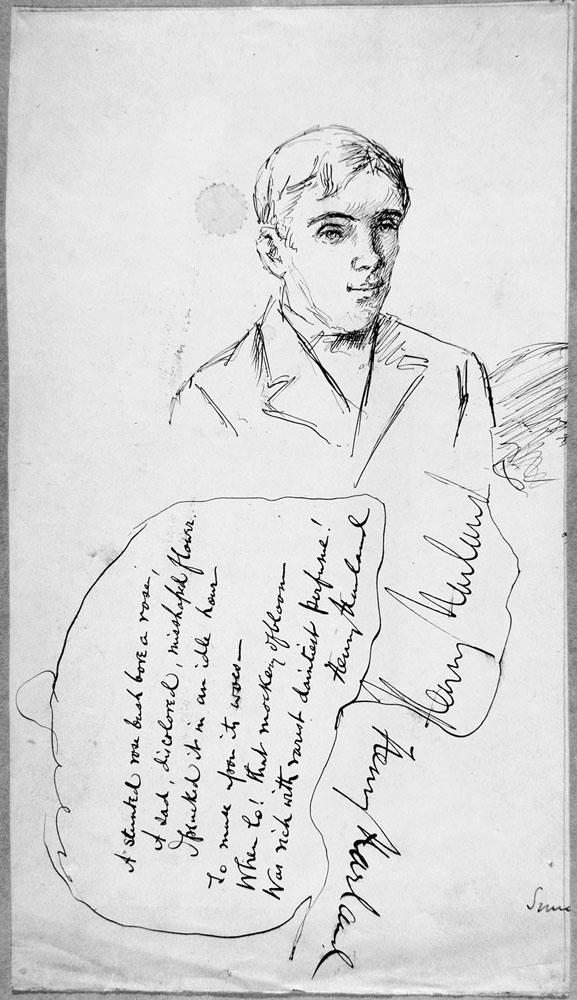 "This pen sketch shows, at the top of the page, Harland's head and shoulders in a three quarter view looking right. The figure is roughed in with quick strokes and cross hatching. Trailing downwards on a diagonal are two attempts at Harland signing his name. Six handwritten lines of a poem, turned ninety degrees counter clockwise, and circled appear in the lower left of the page. Transcript: ""A stunted rose bush bore a rose, A sad discoloured, misshaped flower. I plucked it in an idle hour To muse upon its woes – When lo! That mockery of bloom Was rich with rarest daintiest perfume! Henry Harland"""