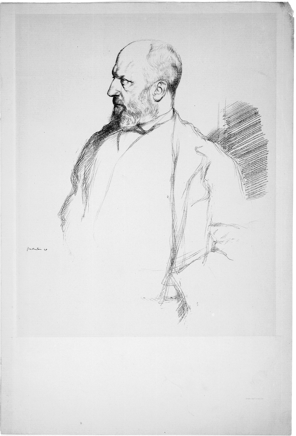Henry James is standing. His head is turned with the left profile of his face in view. He is wearing a jacket.