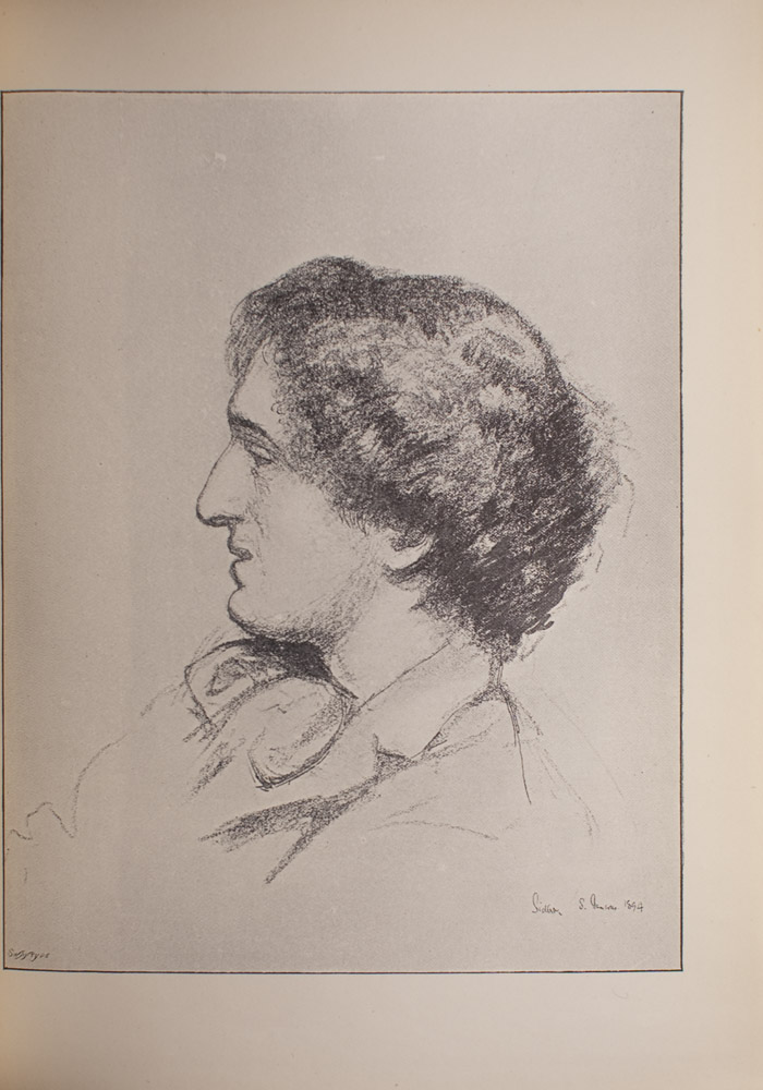 This drawing of Richard Le Gallienne shows him in profile from the shoulders up, facing the left side of the image. The level of detail lessens further down, but a coat lapel and part of a ribbon tie are visible.
