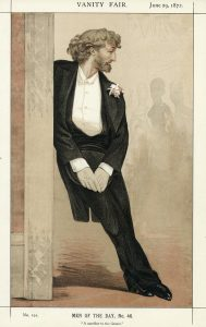 Frederic Leighton is standing in profile, leaning against a doorframe. He is wearing a tuxedo with pink flowers in his lapel. To the right of him in the background, there are the faint outlines of three women.