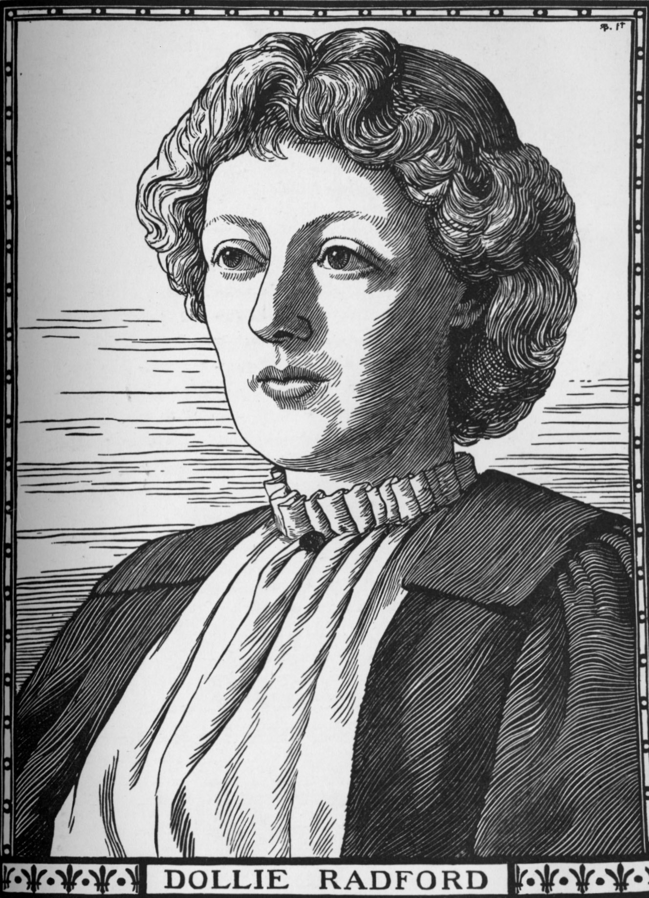 Image is a woodcut of Dollie Radford. She is shown from the chest up with ¾ face. She has short, curly hair. Her gaze is off to the left. She is wearing a light-coloured shirt with a ruffled collar and a dark jacket. The image is vertically displayed.