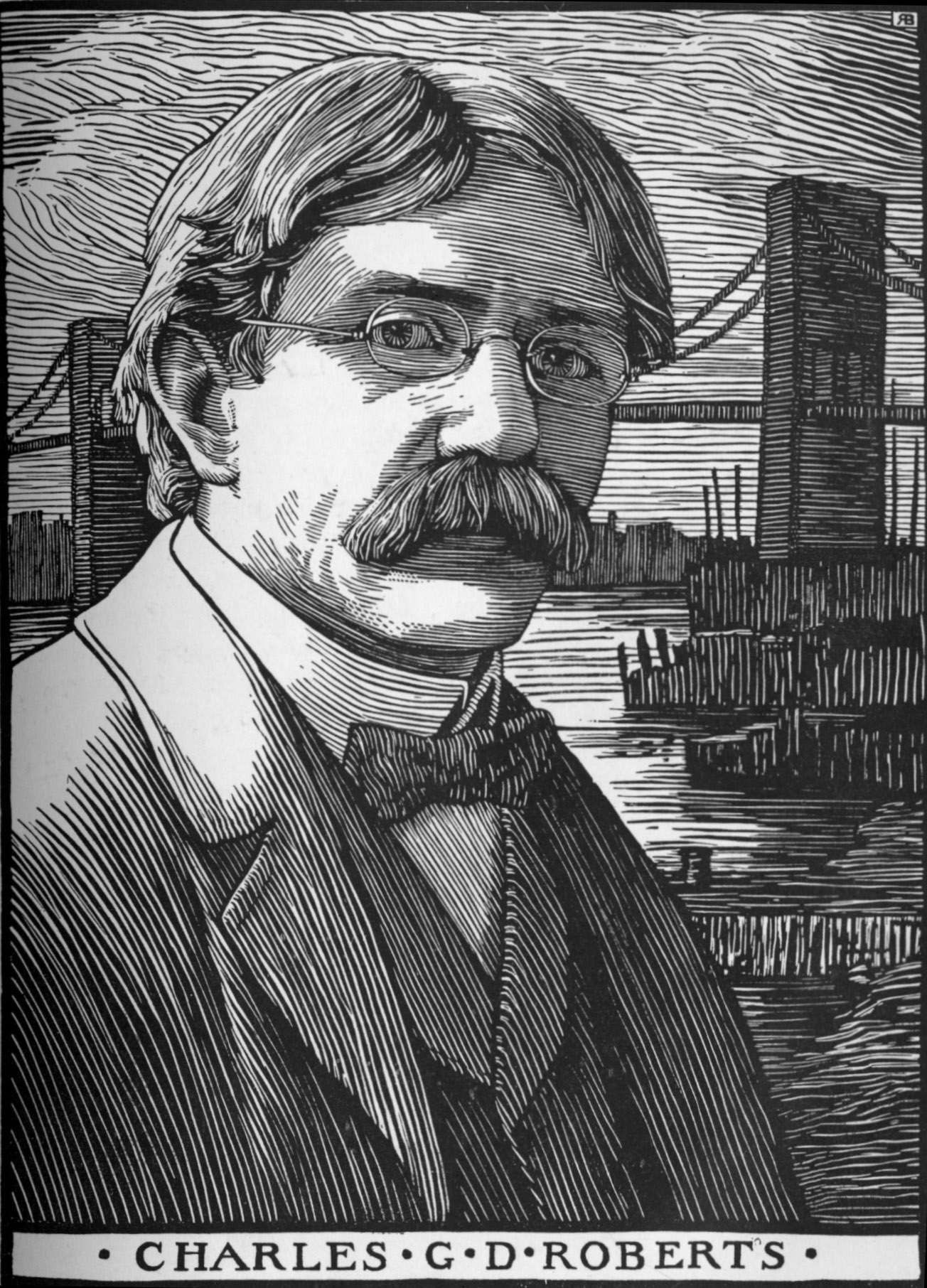 Image is a woodcut of Charles G.D. Roberts. He is shown from the chest up with about a ¾ face position. He is wearing oval glasses, and his hair is wavy and parted off centre on the right side. He has a large moustache and is clean-shaved elsewhere. His gaze is directed at the viewer. He is wearing a stiff collared white shirt, a bowtie, a vest, and a blazer. In the background is a lake and a suspension bridge. The image is vertically displayed.