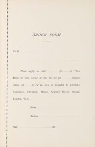 """Order Form. To M... Please suply me with... cop... of """"The Rape of the Lock,"""" at 10s. 6d. (or... Japanese vellum cop... at £2 2s. net), as published by Leonard Smithers EFfingham House, ARundel Street, Strand, London, W.C. Name... Address... Date... 189...."""