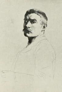 Black-and-white image is of William Strang's upper torso and head. His head and neck is drawn and shaded in detail, but his shoulders, torso, and left arm are outlined lightly. His body faces the left of the frame and his head and gaze are turned toward the viewer. He is wearing a suit jacket and seems to be holding something with his left hand.